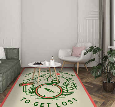 This fabulous vinyl rug design features the text 'Let's find a place to get lost' surrounding a compass an forest. Anti-bubble vinyl.