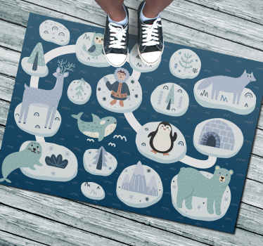 This animal vinyl rug features lots of different icebergs with different polar objects on them such as penguins, igloos, seals and trees.