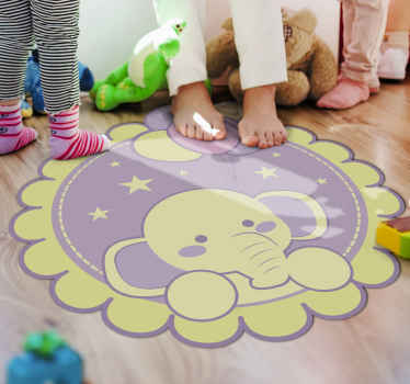 A cute and wonderful yellow and purple elephant vinyl rug with starts and the moon to decorate your kid's room and make him happy about it.