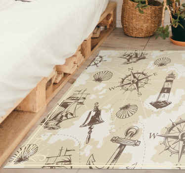 this precious rectangle shape rug has a soft beige background and various sea object on it. Trust the fine quality of our vinyl!