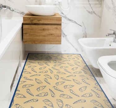 Fantastic seashell bathroom vinyl flooring with various blue seashell on a backgrounf in beige tones. It is resistant and washable
