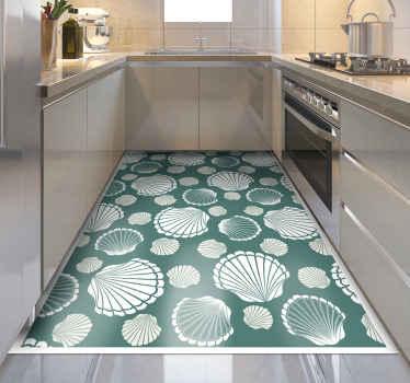 Esta impresionante alfombra de vinilo rectangular se presenta con varias conchas blancas sobre fondo verde. Está hecho de vinilo de la mejor calidad.