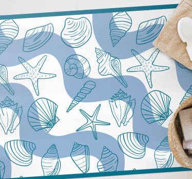 Ce magnifique et unique tapis rectangulaire en jute est un sticker coquillage conçu pour embellir votre salle de bain. Le matériau est résistant et durable.