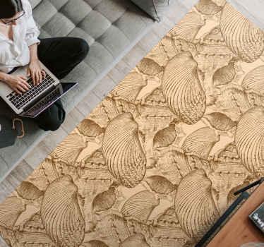Vintage Seashells animal vinyl rug. $ different types of seashells arranged in a pattern. Sandy colour scheme. Express shipping!