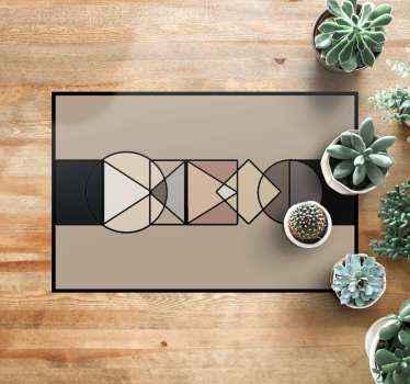 ¡Esta bonita alfombra de vinilo para salón con formas geométricas, círculos y triángulos, es ideal para tu hogar! Cómprala ahora online