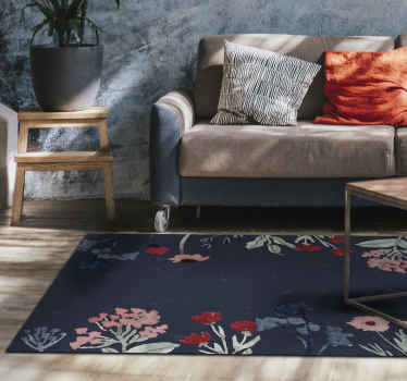 A beautiful and elastic vinyl vintage flowers on the dark background carpet for everyones home.  Buy it in any size to cover a floor nice.