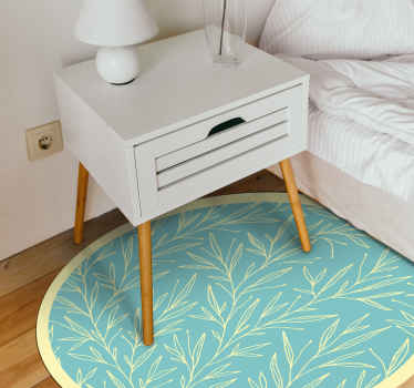 Flower in lines vinyl rug for bedroom. Design with minimal plants and leaf going upwards, yellow colour, yellow edge, and aquamarine background!