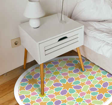 Moroccan Stars vinyl rug for bedroom.  Geometrical shape decorative pattern. Kaleidoscopic look with green, aquamarine, pink and orange colour!