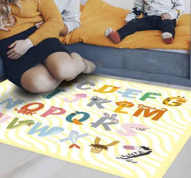 This fabulous kids rug design features the letters A-Z all decorated with different animals of that letter, for example Z is a Zebra!