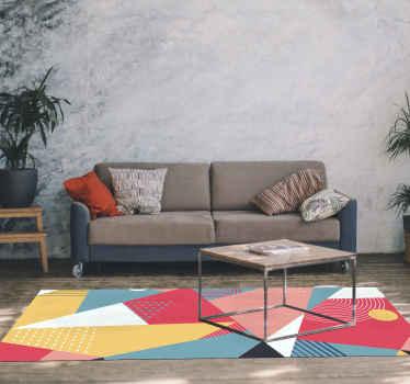 Šiame fantastiškame šiuolaikiniame kilimėlyje yra įvairių trikampių ir kitų skirtingų dydžių formų, kurios sujungia vieną didelę formą.