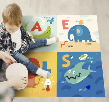 Vinyl rug alphabet with animals vinyl. For squares that two different animals and objects that start with the letter A, E, L and S!
