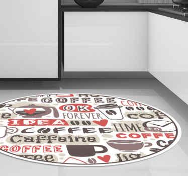 Alfombra vinilo cocina con temática de café que presenta varios textos relacionados con el café, incluidos 'café' ¡Envío a domicilio!