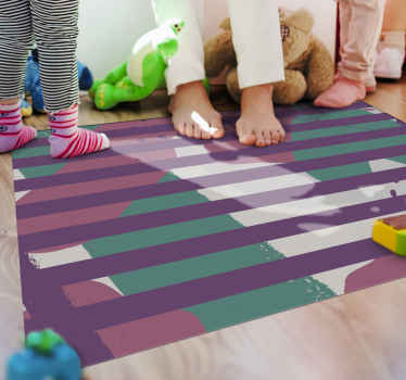 A colorful square shape vinyl carpet with stripes. This product will sure lighten up any space you choose to place it. Available in any dimension.