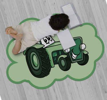 Laadukas vinyyli matto leikkisällä traktorileluilla. Vinyylimatto, joka sopii lasten makuuhuoneeseen, jossa he voivat makata ja leikkiä siinä nauttien suunnittelusta.
