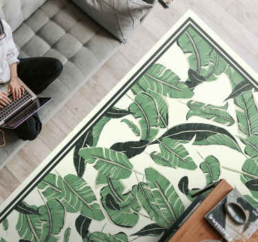 Vinyl rug with palm leaves. Beautiful decoration for your bedroom. It is resistant to external factors and made of high quality vinyl.