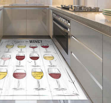 White vinyl rug with wine is perfect decoration for your kitchen. Made of high quality vinyl, resistant to external factors.