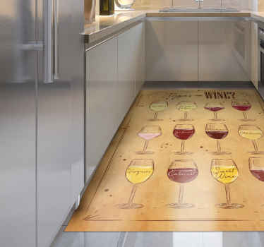 Beige vinyl rug with wine. Perfect deoration for kitchen, dining room or a restaurant. Made of high quality vinyl, easy to store, clean.