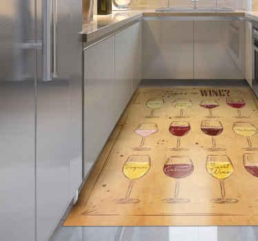 бежевый виниловый коврик с вином. идеальное обесцвечивание для кухни, столовой или ресторана. Изготовлен из качественного винила, удобен в хранении, чистке.
