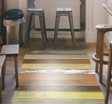 Kleurrijke houten vinyl vloerkleed, perfect voor het decoreren van de ingang van uw huis. Gemakkelijk schoon te maken met een natte doek. Duurzaam en bestendig.