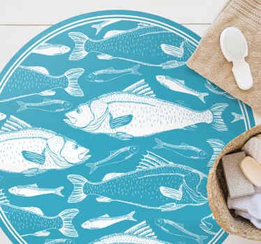 Blauer marine vinyl teppich mit Fischen. Perfekte dekoration, um Ihre küche mit einem blauen touch zu beleben. Aus hochwertigem vinyl.