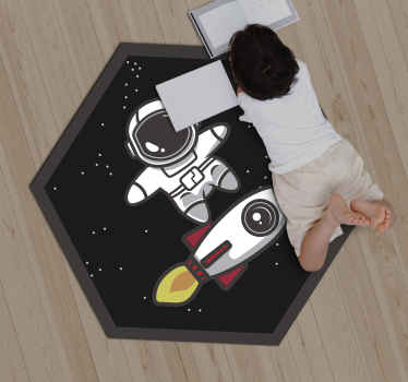 Fancy, amazing and colorful black vinyl flooring of a Rocket in the Space it is inexplicable  how you and your kids will love this black carpet.