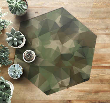 Vinyl rug which features a camouflage print made up of geometric looking triangles to give it a unique feel. +10,000 satisfied customers.
