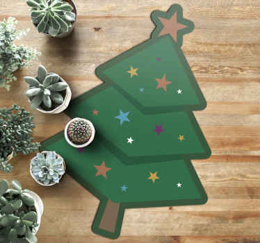 The vinyl rug design features a cartoon Christmas tree decorated stars and with a large star on top. High quality materials used.