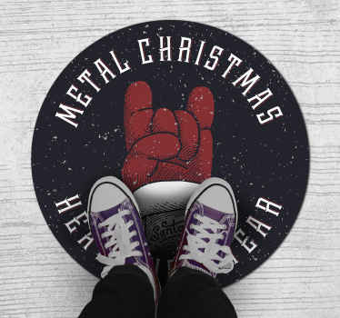 The best Christmas themed vintage rug for any heavy metal lover! Sign up on our website today for 10% off your first order.