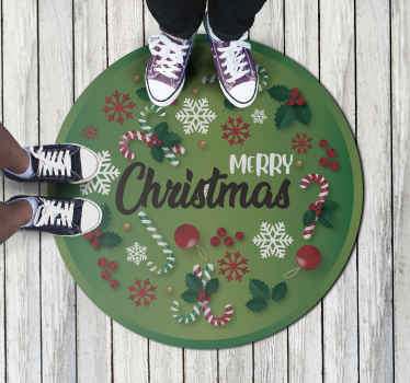 Christmas Vinyl Rug which features the text 'Merry Christmas' surrounded by various ornaments including snowflakes, candy canes and holly.