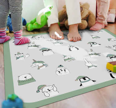 The vinyl rug features lots of different winter animals including penguins, polar bears, foxes and rabbits. Anti-bubble vinyl.