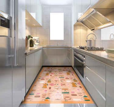 Vinyl szőnyeg szemes kávéval, tökéletes dekoráció a konyhájához. Minőségi vinilből, hajózással közvetlenül az ajtódig.