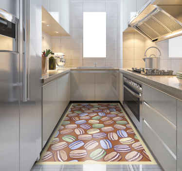Vinyl rug with macarons. If you want to make your kitchen look more cute, we've got you covered. High quality product delivered right to your door!