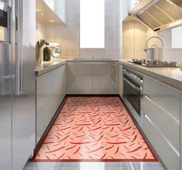 Ce spectaculaire tapis de cuisine recouvert de sticker est doté d'un sticker de piments. Il est facile à nettoyer, antidérapant et très durable.