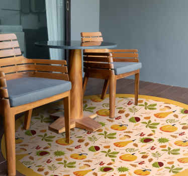 Wonderful living room vinyl flooring featured with various autumnal icons. It is anti-slip, washable and very long-lasting.