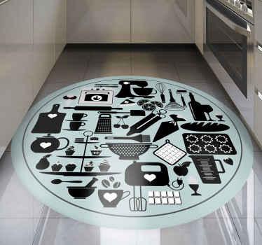 与厨房元素的蓝色地毯。该图案在ble背景上显示了不同的厨房工具。由优质材料制成。自己检查一下!