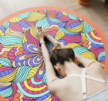 Psychedelic jungle vinyl rug. This item is perfect if you want to decorate your bedrrom or salon. Easy to clean and store.