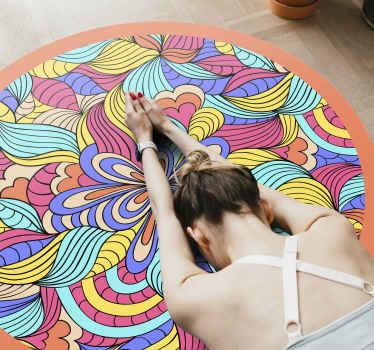 Psykedelisk jungle vinyl tæppe. Denne genstand er perfekt, hvis du vil dekorere din soveværelse eller salon. Let at rengøre og opbevare.
