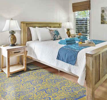 Esta alfombra de vinilo para habitación presenta un hermoso patrón paisley de color amarillo y azul ¡+10. 000 clientes satisfechos!