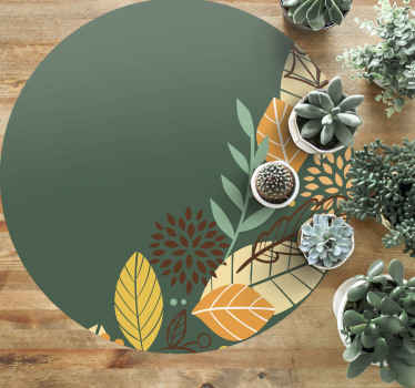 A wonderful Autumn leaves round vinyl rug is a great design to decorate your living room or any space in your house with a high quality product.