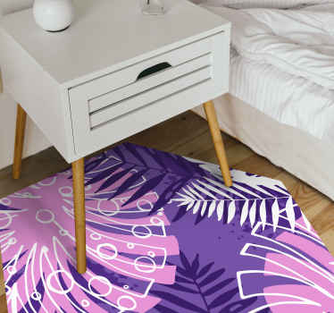 This purple vinyl rug features a variation of jungle plants including the classic Monstera plant on a vibrant, purple background!