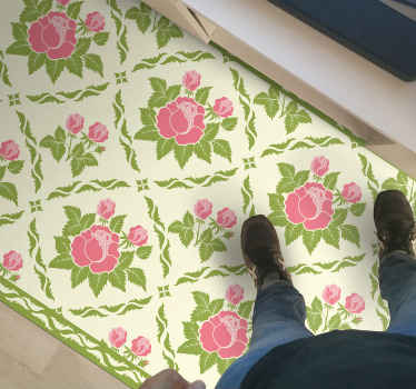 Ce tapis en sticker rectangle spectaculaire rempli de carreaux de fleurs qui aura fière allure dans votre salon. Il est antidérapant et très durable.