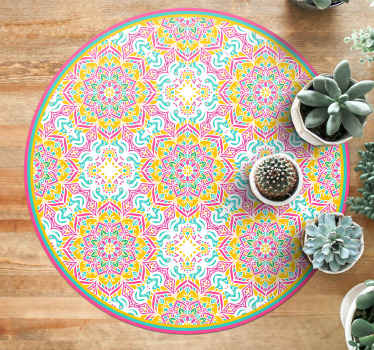 This tile vinyl rug design features an intricate mandala mosaic pattern across the product. +10,000 satisfied customers.