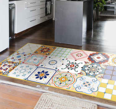 An amazing different designs tiles style vinyl rug to give your kitchen an original and stunning look. Inspired on Moroccan tiles.