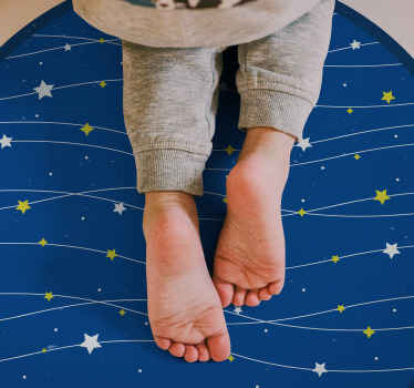 Stars on blue background for kids vinyl rug. Buy it online in our store and we will send it to you wherever or whoever you want.