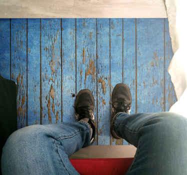 Prachtig blauw vinyl kleed met houten patroon. Met dit ontwerp heb u een decoratie die perfect past bij u interieur en design.