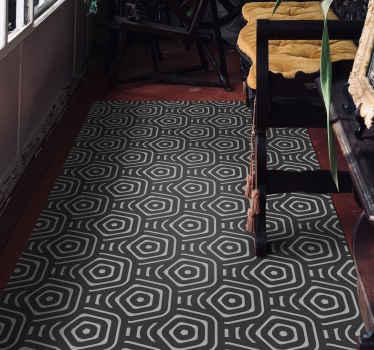 素敵な六角形のグレートーンパターンのビニールラグ。何を待っていますか?オリジナルのビニールカーペットはすべて最高品質です。