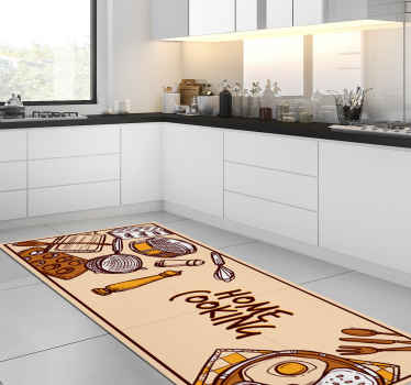 This stunning vinyl rug features the text 'home cooking' surrounded by various kitchen utensils and plates of food. Discounts available.