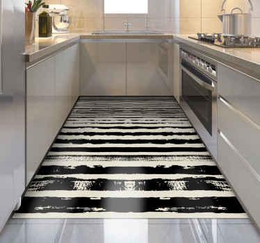 Vinylový koberec s čiernymi pruhmi. Bude to dekorácia greta pre vašu kuchyňu. Môžete tiež umiestniť do haly. ľahko sa čistí a skladuje.