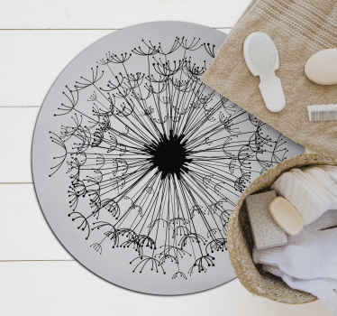 An amazing round vinyl rug with leaves on a grey background for your home. It is made from high quality material with durable ability.