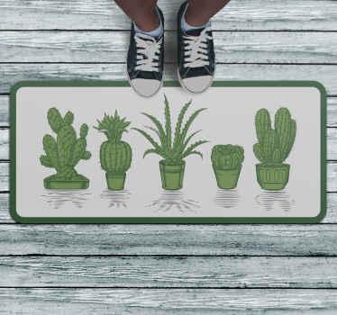 Una hermosa alfombra vinílica recibidor de cactus para decorar tu casa si eres un amante de las plantas. Elige las medidas ¡Decora a tu gusto!
